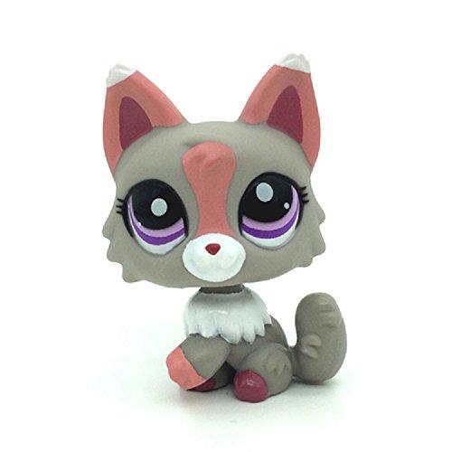 #1921 LPS Littlest Pet Shop Gray Pink & White Wolf Puppy Dog Fox Animal Toy