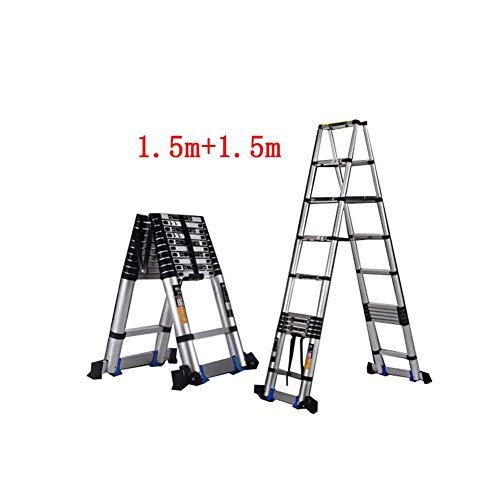 ZPWSNH Uitklapbare ladder Home telescopische techniek draagbare dubbelzijdig gelijkzijdige visgraat-sterke aluminiumlegering opstapkruk