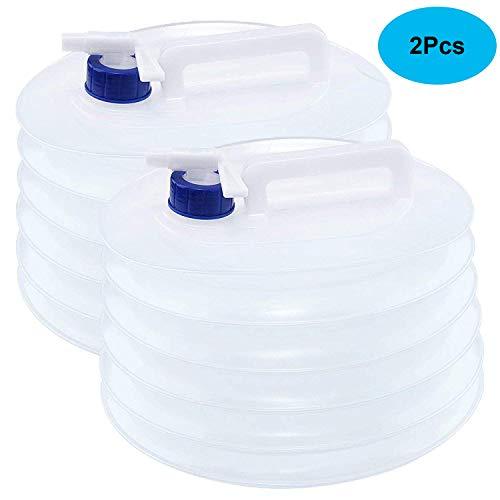 Tebery 2 Stück 10L Faltkanister Faltbarer Wasserkanister mit Zapfhahn, rund, lebensmittelecht (Faltbarer Wasserbehälter)