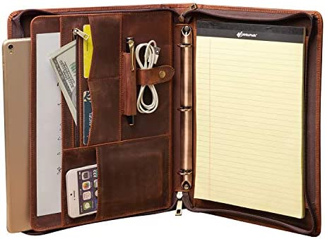 Handmade Crazy Horse Leather 3 Ring Binder Portfolio Padfolio Folder with Zipper for Men and product image