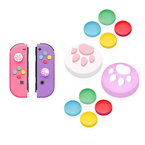 【Nintendo Switch 対応】アナログスティックカバー+方向キーキャップ JoyCon専用方向キーカバー スティック保護カバー 猫 肉球 アシストキャップ 方向キーカバー 10個セット どうぶつの森(パープル/ホワイト)