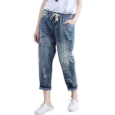 HOSDRipped Jeans for Women Elastic Waist Pants Drawstring Denim Jeans Blue from HOSD