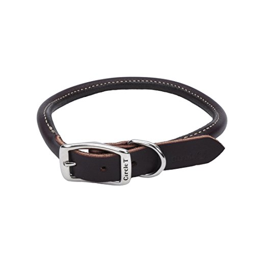 Coastal Pet Circle T Nickel Buckle Latigo Leather Round Dog Collar 3/4' Width by 18' to 20' Girth