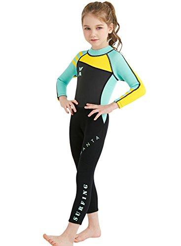 FEOYA Kinder Neopreneanzug Badeanzug Mädchen Schwimmanzug Einteiler Unisex 2.5MM Tauchanzug UV-Schutz Langarm Wetsuit für Wassersport-Grün-7-8 Jahre Alt