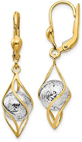 14k Two Tone Yellow Gold Drop Dangle Chandelier Leverback Earrings Lever Back Fine Jewelry For product image