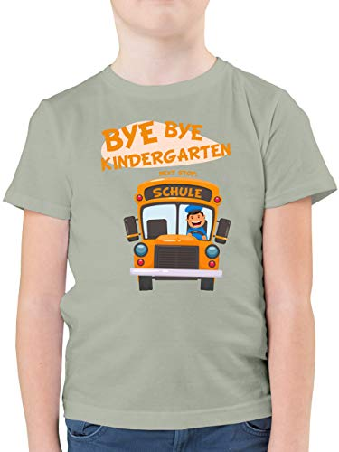 Einschulung und Schulanfang - Bye Bye Kindergarten Next Stop Schule - 128 (7/8 Jahre) - Hellgrau - Kurzarm - F130K - Kinder Tshirts und T-Shirt für Jungen