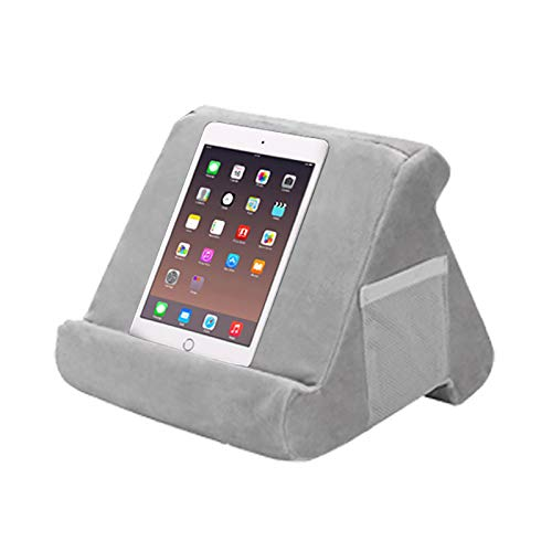 Soft Tablet Stand with Net Pocket, Lap Holder Pad Stand, Phone Holder Tablet Book Support Cushion Stand for Tablet, Used On Bed, Desk, Car, Sofa, Lap, Floor, Couch, Multi-Angle Soft Pillow (Gray)