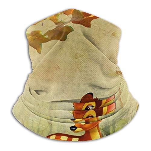 liusizheree Calentador de Cuello Polaina Otoño Bambi Flores De Otoño protección Solar Transpirable Cubierta de la Cara Bufanda Tubo de Pulido a Prueba de Polvo para niños
