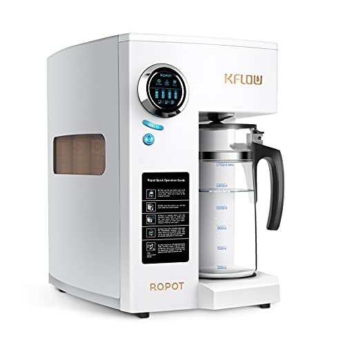 KFLOW Reverse Osmosis System, Countertop RO Water Filter, Tankless Reverse Osmosis Water Filtration System with 4-Stage Filtration, Filter Life Monitor, Zero Installation (KFL-ROPOT-180 Plus)