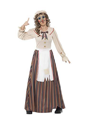 Smiffys 45577L - Damen Kasperle Kostüm, Kleid, Hut und Latex Maske, Größe: 44-46, mehrfarbig