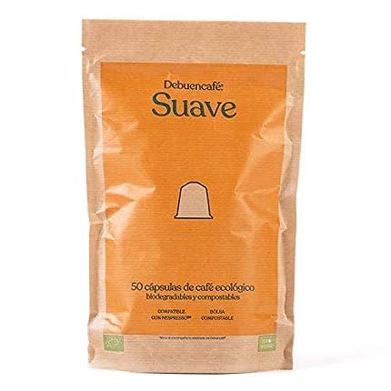 Debuencafé. 50 Cápsulas Compostables y Biodegradables de Café Suave Ecológico de Calidad Realmente Sostenible. Compatibles con las Cafeteras Nespresso.