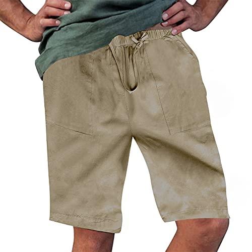 Rela Bota Men's Fashion Cotton Linen Athletic Shorts Solid Color Beach Lightweight Elastic Waist Yoga Pants Solid Khaki 5XL