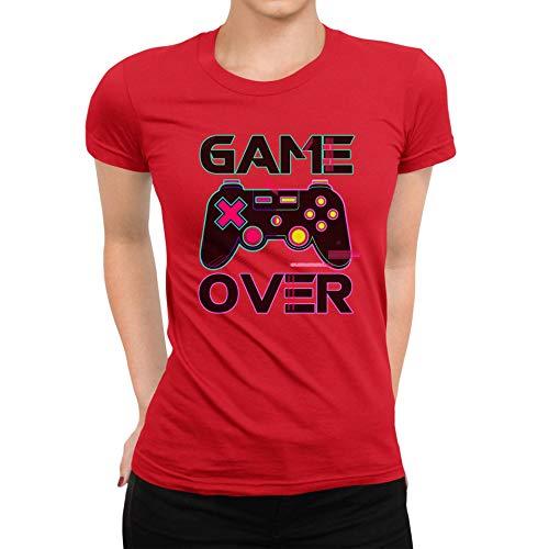 TeezoneDesign Women's T-Shirt Game Over Joystick Pc Games Grappig Ontwerp Kleding Kleding Lijn