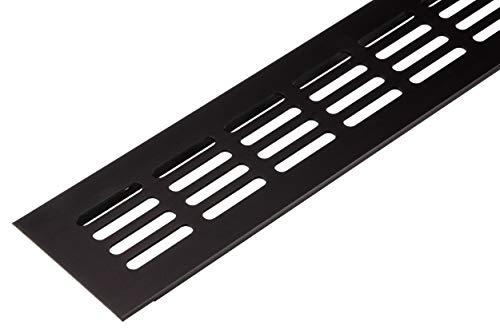 Lüftungsgitter Tür-Gitter braun Abluftgitter Aluminium | Belüftungsgitter eckig | 400 x 60 mm | Möbel-Gitter Alu für Heizung - Wand uvm. | MADE IN GERMANY | 1 Stück - Lüftungsblech mit Schrauben