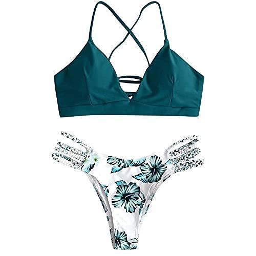 Yutdeng Costume da Bagno da Donna Brasiliana Bikini Intrecciato con Stampa Floreale a Foglia Costumi...