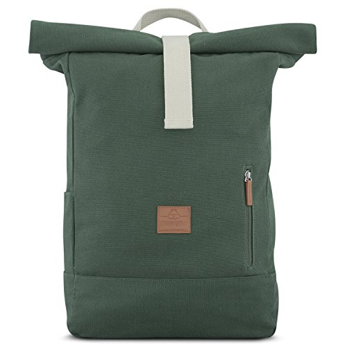 Rolltop Rucksack Damen & Herren Grün ADAM - JOHNNY URBAN Roll Top Backpack aus Baumwoll Canvas - Lässige Rucksäcke für Alltag, Uni, Reisen & Schule - Wasserabweisend & sehr flexibel