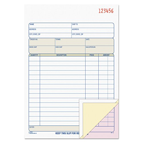 TOPS Sales Order Book, 3-Part, Carbonless, White/Canary/Pink, 5-9/16 x 7-15/16 Inches, 50 Sets per Book (46510)