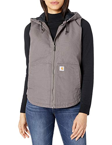 Carhartt Women's Washed Duck Hooded Vest, Taupe Gray, Medium