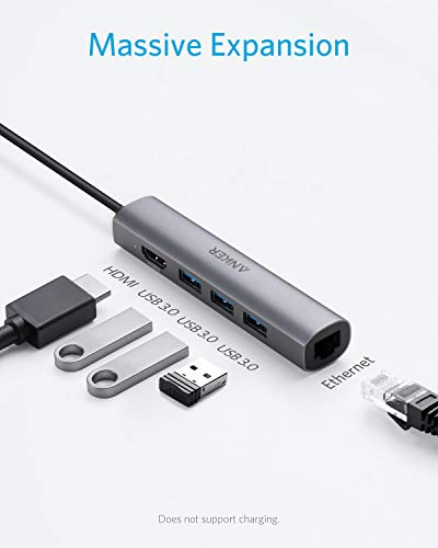 Anker USB C Hub Adapter, 5-in-1 USB C Adapter with 4K USB C to HDMI, Ethernet Port, 3 USB 3.0 Ports, for MacBook Pro 2019/2018/2017, ChromeBook, XPS, and More (Space Gray)