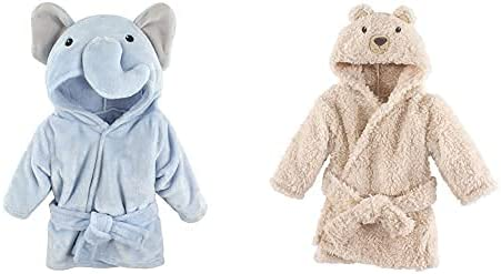 Hudson Baby Max 56% OFF Deluxe Boy Plush Animal Face Elephant Bathrobe Blue 2-Pack
