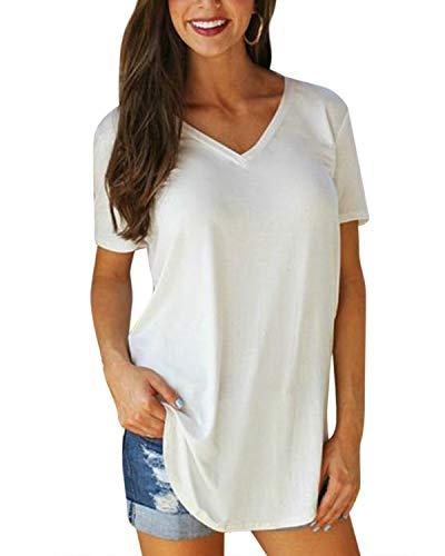SUNNYME T-Shirt d'Eté Femme Haut à Manches Courtes Tops Chemise Casual Col V Tee Couleur Unie Blanc XL