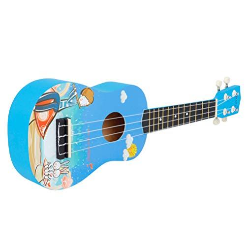 EXCEART 21 Pulgadas Ukelele Soprano Principiante Pequeño Ukelele Guitarra Profesional Y Ukelele Clásico Pequeña Guitarra Instrumento Acústico Musical para Niños Principiantes Azul