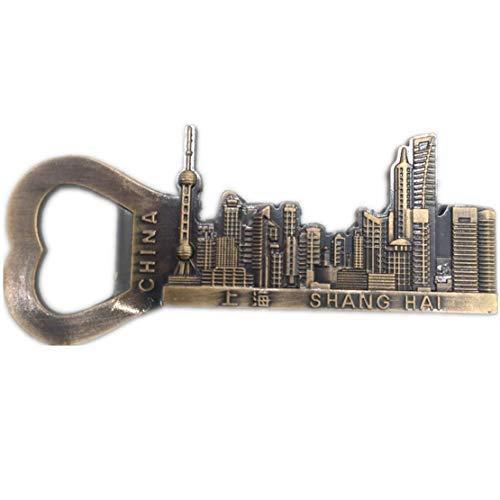 Shanghai China Flaschenöffner Kühlschrankmagnet 3D Metall Handgefertigte Handwerk Tourist Travel City Souvenir Sammlung Brief Kühlschrank Aufkleber