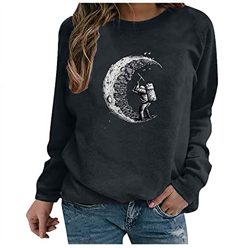 iikey Camicie Donna Eleganti Taglie Forti Maglie Donna Maniche Lunghe Elegante Stampata Girocollo Invernale Tops Sottile Casuale Tinta Unita Magliette Pullover Autunno T-Shirt Bluse Primavera Felpe