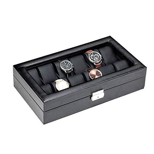 pojhf GYDSSH La joyería Caja Caja de Reloj de los Hombres del Reloj del Caso de exhibición Organizador, Caja de Cuero del Reloj del almacenaje, Negro