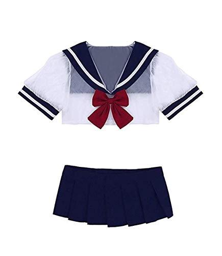 YUANMO Costume da scolaretta Sexy Lingerie Set Sailor Uniform Dress Cosplay Student Butterfly Uniform Costumes Outfit con Calze