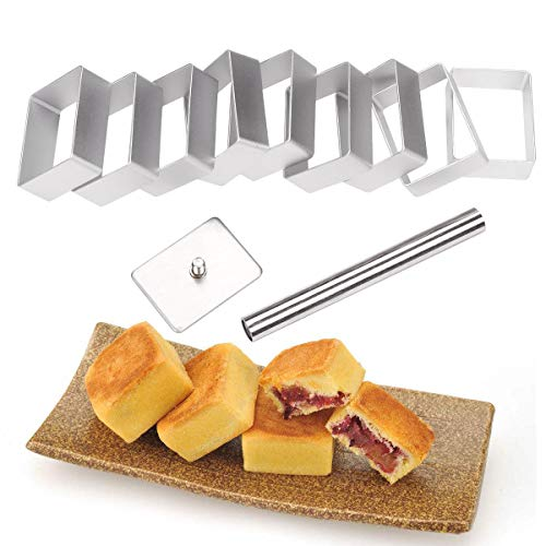 10 Packs Cookie Fondant Cake Mold Cutter Pineapple Shape Cake Pie Biscuit Cutter Bread Mold with Stainless Steel Press Stamp Sugar Craft Cake Mould DIY Decorating Tool (Rectangle)