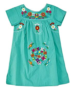 unik Traditional Mexican Girl Embroidered Dress Mint Size 6