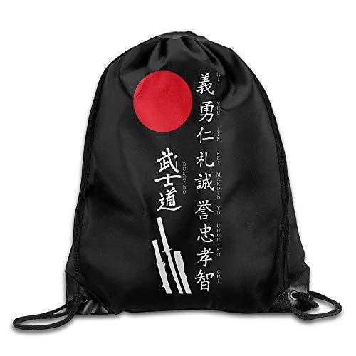 htrewtregregre Japanese Kanji Samurai Bushido Cool Drawstring Rucksack String Bag