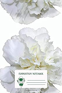 Composition Notebook: Single White Carnation Hipsterprettytrendy Flowers Workbook for Adult
