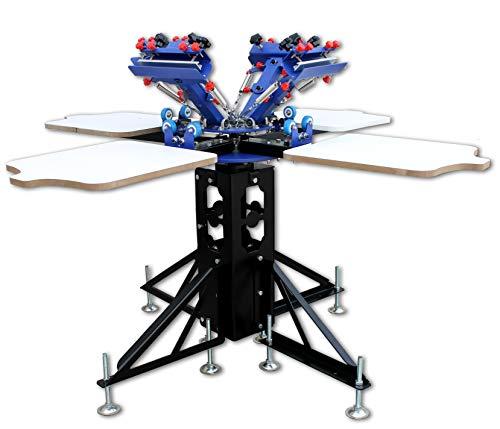 4 Color 4 Station Screen Printing Machine Screen & Platen Rotating Micro-Registration Screen Printing Press Equipment