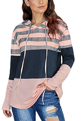 SMENG Damen Color Block Lace Triple Hoodies Streifen Pullover Langarm Tops,Rosa,S