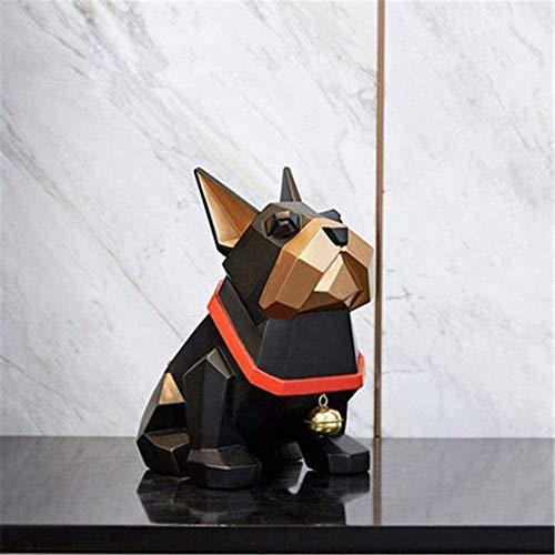 LEILEI Estatuas,estatuas de jardín y Origami Geometría Abstracción Bulldog francés Pequeña Campana Perro Escultura de Resina Dormitorio de niños Decoración de Dibujos Animados X3134 Esculturas de e