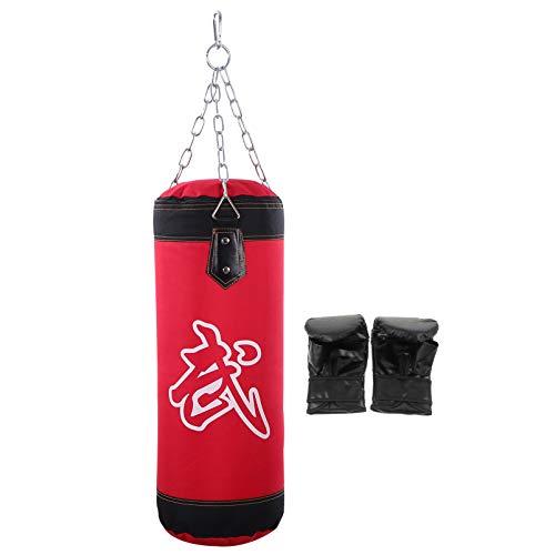 Veemoon Kit de Saco de Boxeo para Colgar Entrenamiento de Cuero Vacío Saco de Arena para Patear Resistente Al Desgaste Muay Thai Karate Bolsa de Objetivo de Boxeo con Guante de Boxeo para