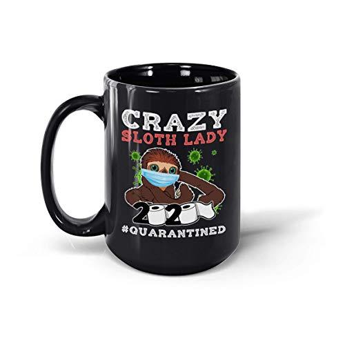Crazy Sloth Lady Quarantine Funny Taza de cerámica de café, 12 onzas...
