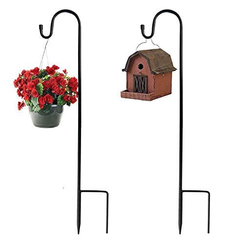 Lot de 2 Crochets de Berger en métal avec pute pour mangeoires à Oiseaux et lanternes de Jardin, lumières de Noël, paniers de Fleurs, Boules de Fleurs (noir-120 cm)