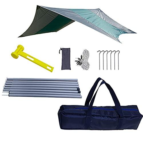 GYAM Tienda de campaña Lona Impermeable Hamaca Grande Refugio Solar Toldo portátil Tienda de campaña Sombra de Playa con Clavijas Cuerdas,Verde