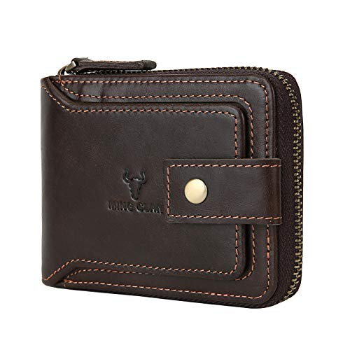 Zipper Wallet Men RFID Blocking Leather Bifold Wallets For Men - Flap ID Window Zip Coin Pocket Mens Zipper Wallets - Big Capacity Credit Card Travel Wallet