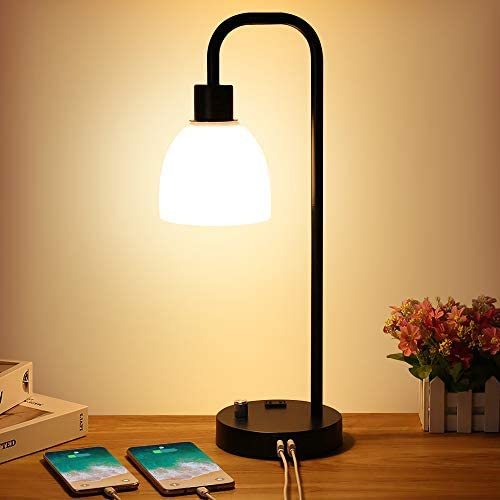 Zermurd Industrial Table Lamp Stepless Dimmable Modern Bedside Lamp with Two USB Ports and AC product image