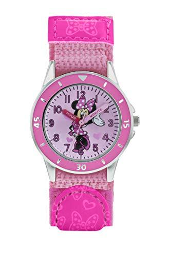 Minnie Mouse Mädchen Analog Quarz Uhr mit Stoff Armband MN5106