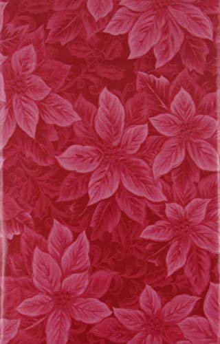 Poinsettias Holly Berries Vinyl Flannel Back Tablecloth (Red, 52' x 90' Oblong)