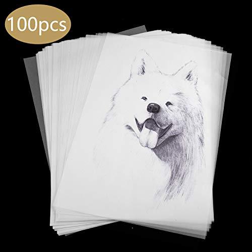 Papel de Calco Transparente, Diealles Shine 100 Hojas Papel de Calco A4 Transparente Papel para Diseño, Impresión, Gráficos, 297 * 210 mm