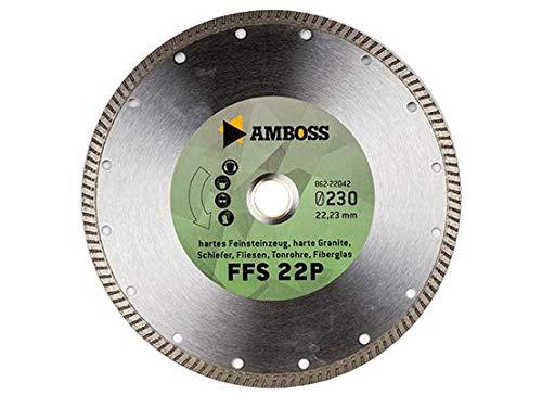 Amboss FFS 22 - Diamant-Trennscheibe Ø 200 mm x 25,4 mm - Hartes Feinsteinzeug (bis 1,2 cm) / harte Granite/Schiefer/Fliesen/Tonrohre/Fiberglas | Segmenthöhe: 7 mm
