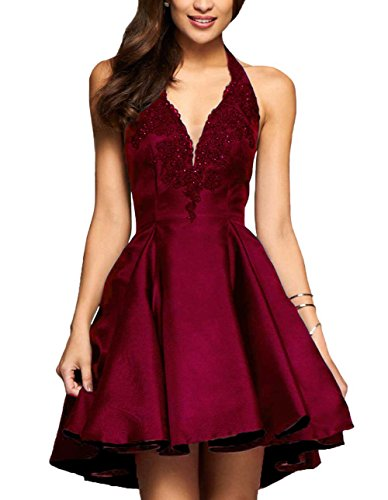 Yilis A-line Satin with Lace Applique Party Prom Dress Short Homecoming Dress (Burgundy,8)