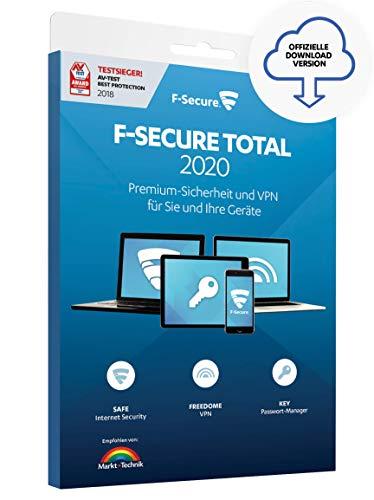 F-Secure TOTAL 2020 Security und VPN - 1 Jahr / 5 Geräte für Multi-Plattform (PC, Mac, Android und iOS) [Online Code]