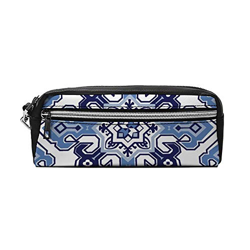 Patroon in de stijl van mediterrane tegels PU lederen etui make-up tas cosmetische tas potlood zak met rits reizen toilettas voor vrouwen meisjes